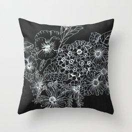 White on Black Botanical Illustration Throw Pillow