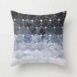 Blue Hexagons And Diamonds Throw Pillow