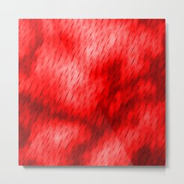 Line texture of red oblique dashes with a luminous intersection on a luminous charcoal. Metal Print
