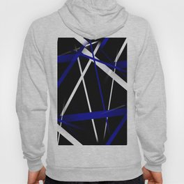 Seamless Royal Blue and White Stripes on A Black Background Hoody
