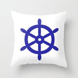 Ship Wheel (Navy Blue & White) Throw Pillow