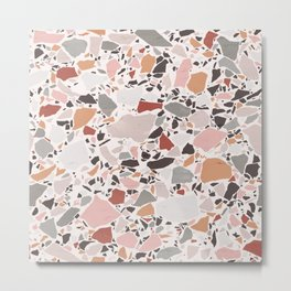 Neutral Terrazzo / Earth Tone Abstraction Metal Print