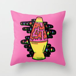 Lit Lava Lamp in pink in 3D Throw Pillow