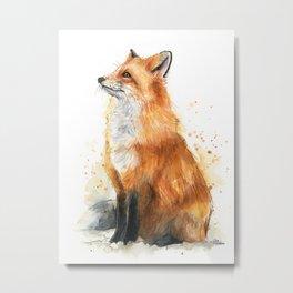 Fox Watercolor Red Fox Painting Metal Print