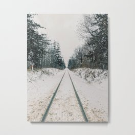 Train tracks in the winter Metal Print