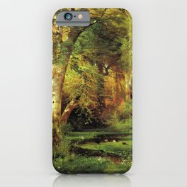 Forest Scene 1870 By Thomas Moran | Dense Woods Watercolor Reproduction iPhone Case