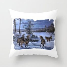 Beautiful artwork in a scenic lake setting with a full moon shining and the pack is howling! Throw Pillow