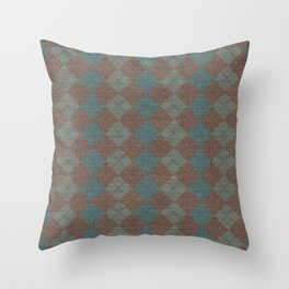 Dark Blue Brown Checkered Knitted Weaving Throw Pillow