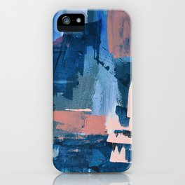 Rhythm of Rain: a modern abstract piece by Alyssa Hamilton Art in blues and pinks iPhone Case