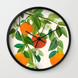 Oranges and Blossoms II / Tropical Fruit Illustration Wall Clock