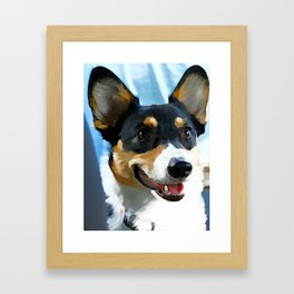 Tri Color Welsh Pembroke Corgi Framed Art Print