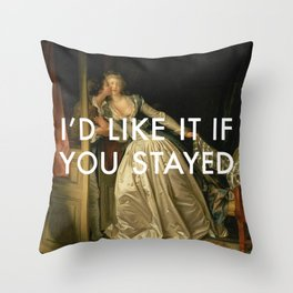 Stay for a Kiss Throw Pillow
