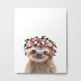 Baby Sloth With Flower Crown, Baby Animals Art Print By Synplus Metal Print
