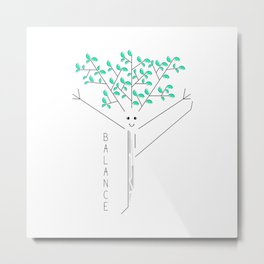 Funny drawing of a tree practicing yoga Metal Print