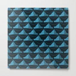 Paper Hats Pattern | Blue Metal Print