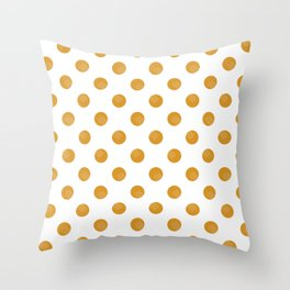 Mustard Dots White Lines Throw Pillow