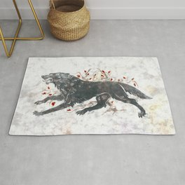 Grey wolf on the snow Rug