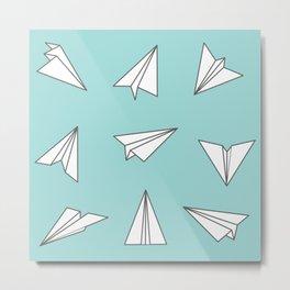 Paper Planes Pattern Print Metal Print