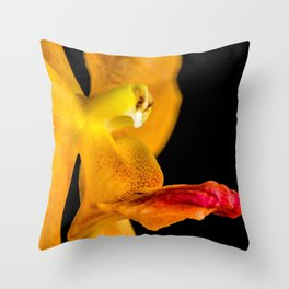 Orange Orchid On Black 1 Throw Pillow