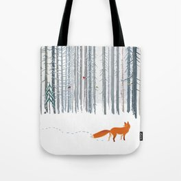 Fox in the white snow winter forest illustration Tote Bag