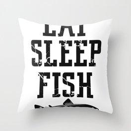 Eat Sleep Fish Throw Pillow