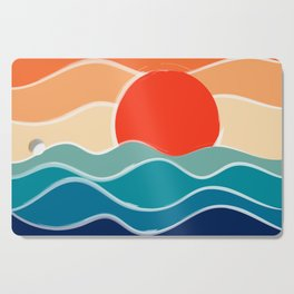 Retro 70s and 80s Color Palette Mid-Century Minimalist Nature Waves and Sun Abstract Art Cutting Board