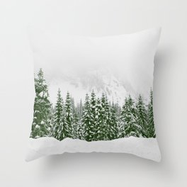 Snow Trees Forest Throw Pillow