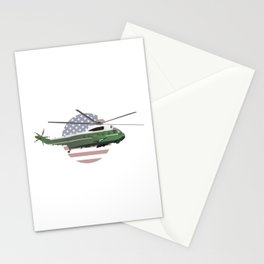 Marine One Helicopter with American Flag Stationery Cards
