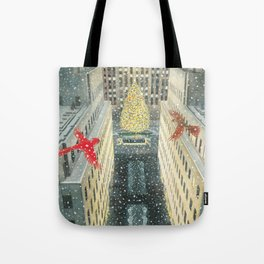 Red and Lulu and the Rockefeller Center Christmas Tree Tote Bag