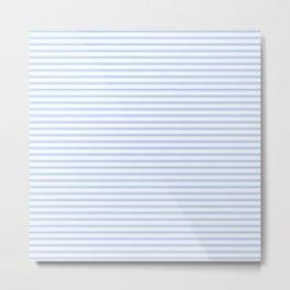 Mattress Ticking Narrow Striped Pattern in Pale Blue and White Metal Print