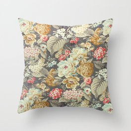 Gray Gold White Rose Pattern Throw Pillow