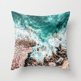 Aerial Ocean Print, Ocean Landscape, Beach Photography, Beach Print, Ocean Print, Ocean Water Throw Pillow