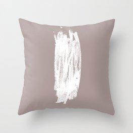 Simple Minimalistic White Brushtrokes on Beige Throw Pillow