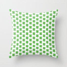 Lucky Irish Four Leaf Clovers Pattern Throw Pillow