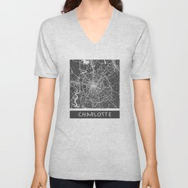 Charlotte map blue Unisex V-Neck