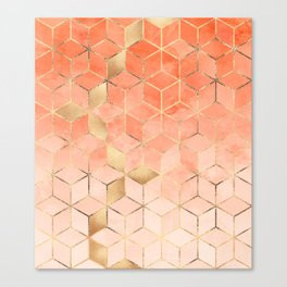Soft Peach Gradient Cubes Canvas Print