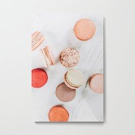 Colorful Macarons Print, Macaron Flat Lay Food Art, Minimal Food Print, Paris Macaroons Decor, Pastel Cookie Print, French Cookies Patisserie Metal Print