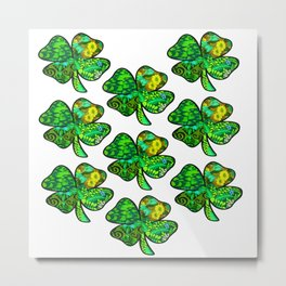 Retro Shamrock Tile Metal Print