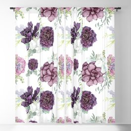 Succulents Deep Violet Lavender Pastel Green Lilac PatternSee Nature Magick for more pretty pastel c Blackout Curtain