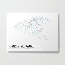 Donner Ski Ranch, CA - Minimalist Trail Map Metal Print
