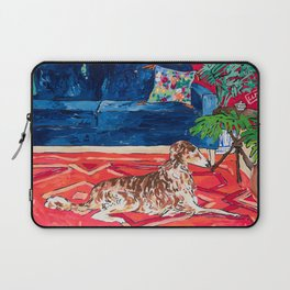 Red Interior with Borzoi Dog and House Plants Painting Laptop Sleeve