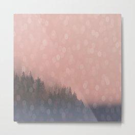 Frosty Morn, Forest Landscape Sparkles Metal Print