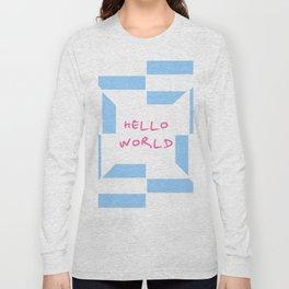 hello world 4 blue Long Sleeve T-shirt