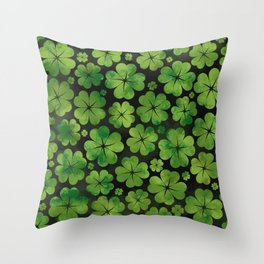 Lucky Shamrock Four-leaf Clover Pattern Watercolor Throw Pillow