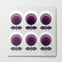 Purple Mid Mod Flowers Metal Print