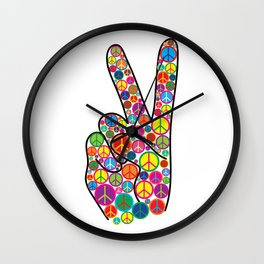 Cool Colorful Groovy Peace Sign and Symbols Wall Clock