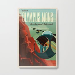 THE VOLCANO OF MARS - Olympus Mons   Space   X   Retro   Vintage   Futurism   Sci-Fi Metal Print
