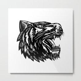 Growling Tiger Woodcut Black and White Metal Print