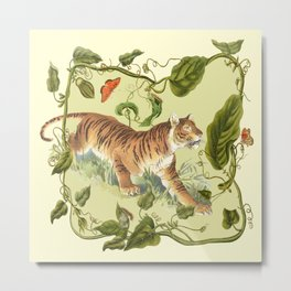 TIGER AND A BUTTERFLY  Metal Print