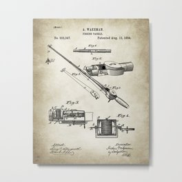 Fishing Patent Poster Drawing Metal Print